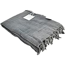 InfuseZen Stonewashed Turkish Throw Blanket in Charcoal Grey/Faded Black, Soft, Cozy and Lightweight, Perfect for Use as a Love Seat or Sofa Throw, Partical Bed Cover, Beach Blanket or Yoga Blanket