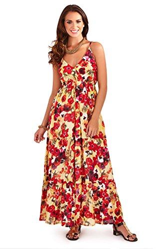 Pistachio Con Tirantes Para Dama Floral Amapolas Estampado Y Largo Vestidos Rojo