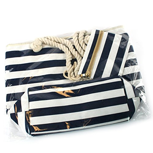 White Rope and FREE Stripes pocket Quality Handles High lining a amp; zipped waterproof purse Beach with Blue a zipped a inner Zipped matching Bag XFxxfBw