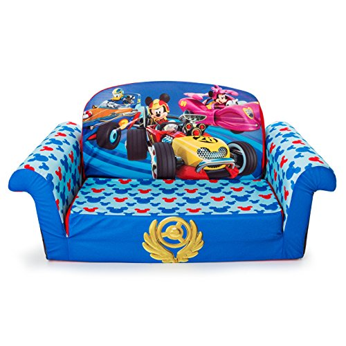 Marshmallow Furniture - Children's 2 in 1 Flip Open Foam Sofa, Disney Mickey Mouse Roadsters Flip Open Sofa