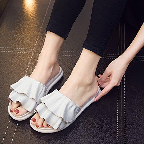 baño casa pequeña nbsp;El de de zapatillas 36 maceteros blanco Verano zapatillas femenino hojas rosa interior gris fresca de cuarto deslice 37 baño Fankou loto 7w8q8v