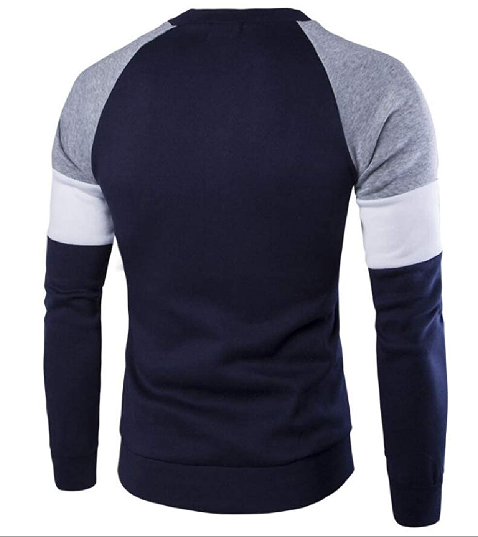 Generic Mens Contrast British Knitted Long Sleeve Pullover Sweaters