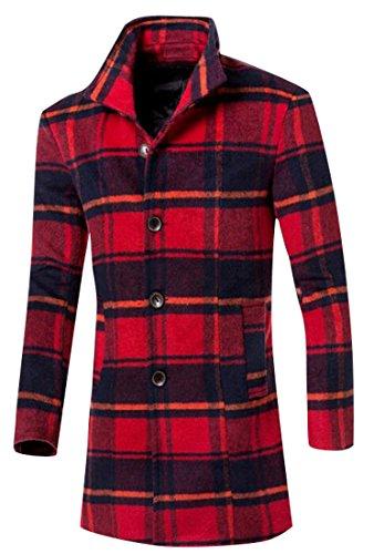 ARTFFEL-Men Winter Plaid Trench Coat Long Sleeve Long Wool Peacoat Overcoat Red L