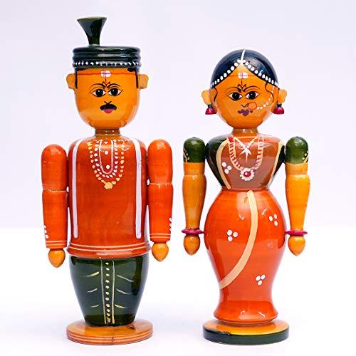 ANDHRA HAND CRAFTS -KONDAPALLI Wooden Bride Couple Set Male 6.5
