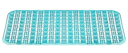 Non Slip Long Blue Bath Tub Mat and Shower Mat For Tubs for Massage. Mold/Mildew Resistant Tub Mat Eco Friendly Mat with Suction Cups for Safety Machine Washable Anti Bacterial and BPA Free