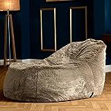 icon Ottawa Dream Lounger Faux Fur Bean Bag - Giant Faux Fur Bean Bags in Beige - Beanbag Recliner Day-Bed (Mink)