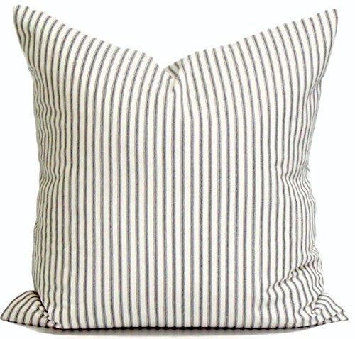 (Charcoal Gray Throw Pillow Cover, Ticking Throw Pillow Cover, Decorative Pillow Cover, Ticking Stripe Throw Pillow, Farmhouse Pillow, Any Size, Grey Stripe Pillow, Cottage Cover)