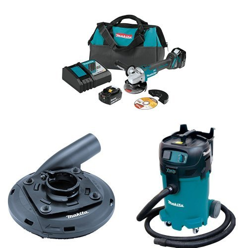 Makita XAG04T 18V LXT Lithium-Ion Brushless Cordless 4-1/2 inch/5 inch Cut-Off/Angle Grinder Kit with Makita 195236-5 4-1/2-Inch - 5-Inch Dust Shroud  with Makita VC4710 12-Gallon Wet/Dry Vacuum