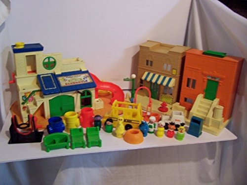 (Vintage Fisher-Price Sesame Street Playset Combo Pack-Play Family Sesame Street Clubhouse #937 & Play Family Sesame Street #938)