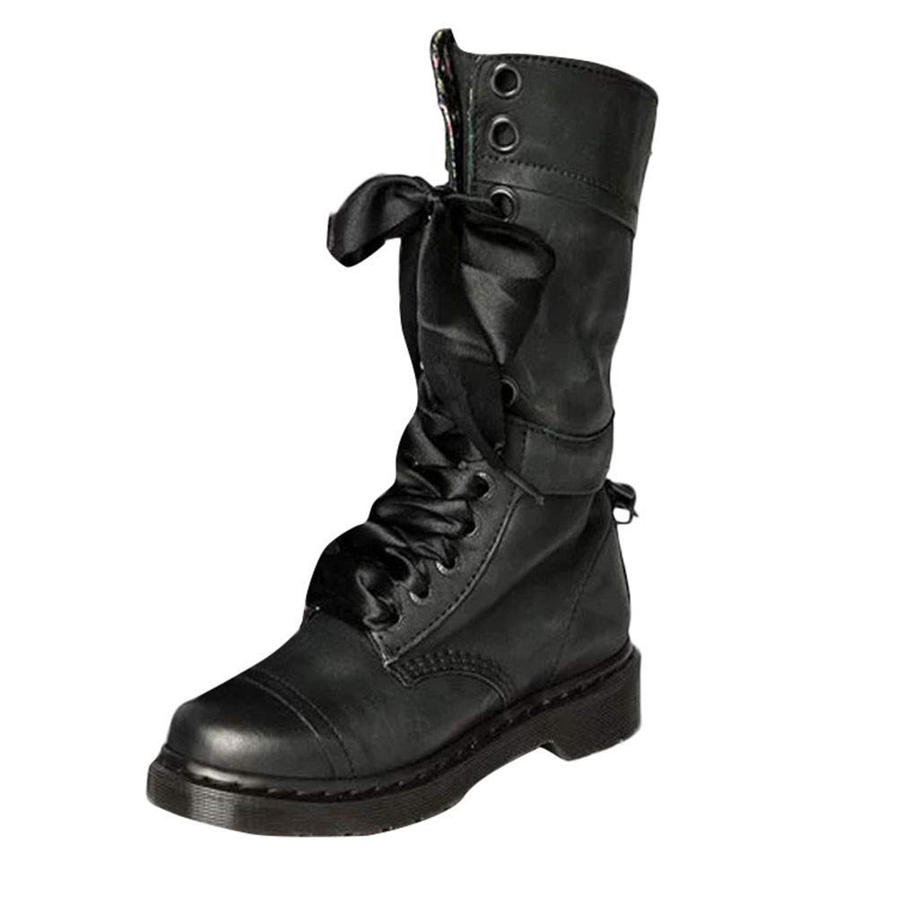 New New in HAALIFE◕‿ Combat Boots for Women Lace Up Military Booties Mid Calf Classic Casual Windproof Anti-Slip Booties Black