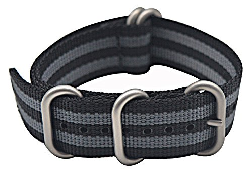 ArtStyle Watch Band with 1.5mm Thickness Quality Nylon Strap and Heavy Duty Brushed Buckle (Black/Grey, 24mm)