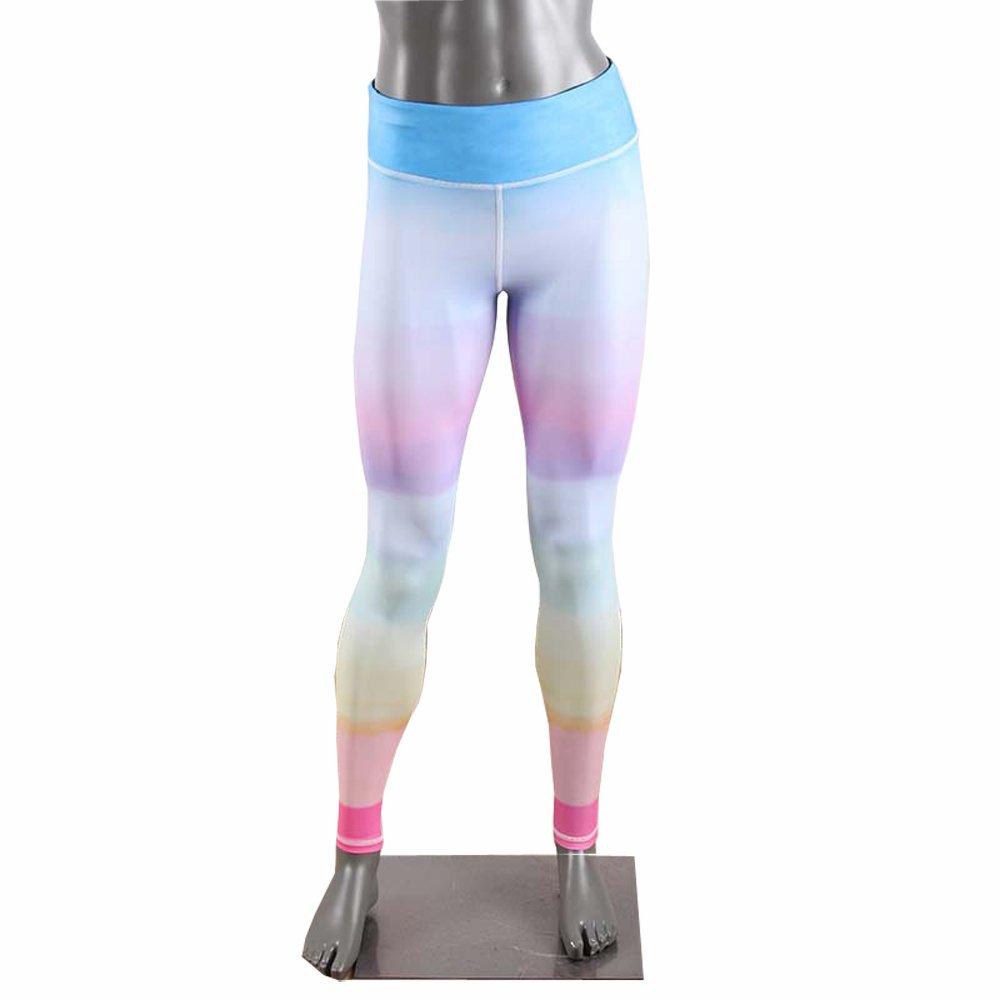 YUE Sport Girl s Yoga Rainbow Capris Power Flex Running Pants workout Leggings