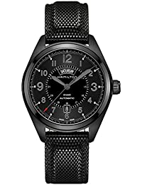 Men's H70695735 Khaki Field Day Date Black Automatic Watch