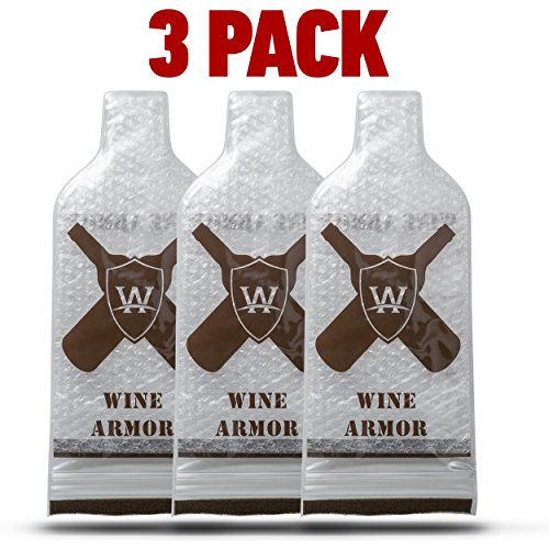 Wine Armor -The Best Wine Bottle Protector for Travel by The Wise Widgets: 3-Pack Bubble WrapBottle Protector Sleeves -Thick Padded Carrying Case -Wine Tote Travel Accessory