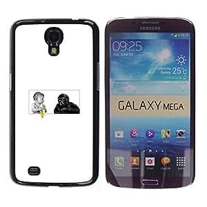 Samsung Galaxy Mega 6.3 - Metal de aluminio y de plástico duro Caja del teléfono - Negro - Funny Baby - Banana And Gorilla Monkey