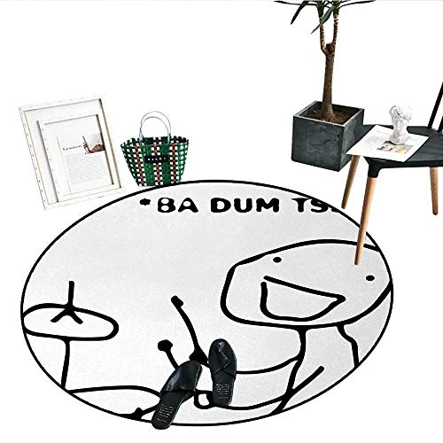 "Humor Round Small Door Mat Musician Stickman Plays Drums Happy Instrument Artisan Indie Style Figure Art Circle Rugs for Living Room (24"" Diameter) Black and White"