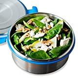 LunchBots Clicks Salad Container (4 Cup) - Stainless Steel Food Container with Leak-Proof Lid - Great for Salad, Leftovers and Healthy Lunches - Eco-Friendly, Dishwasher Safe and BPA-Free