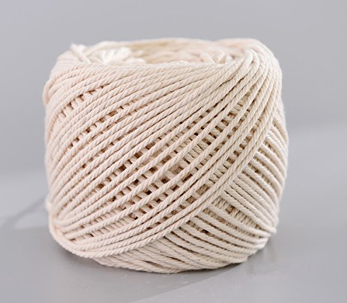 (3mm x 200m(about 218 yd)) Handmade Decorations Natural Cotton Bohemia Macrame DIY Wall Hanging Plant Hanger Craft Making Knitting Cord Rope Natural Color Beige