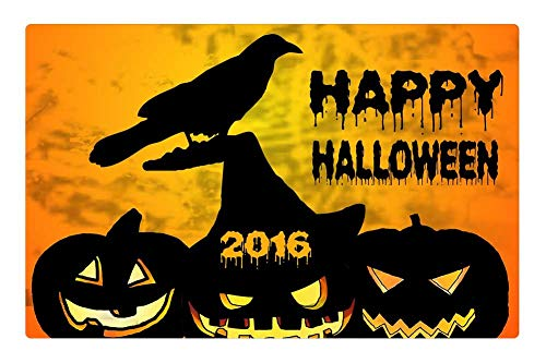 Tree26 Indoor Floor Rug/Mat (23.6 x 15.7 Inch) - Halloween Pumpkin Raven Graphics Design Wallpaper ()