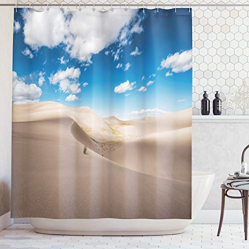 (Lunarable Wilderness Shower Curtain, Panorama of Desert Landscape with Sand Dunes National Park Colorado, Cloth Fabric Bathroom Decor Set with Hooks, 70 Inches, Warm Taupe Blue White)