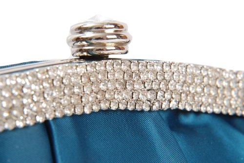 Panel De Verde Cerrar Con De Para Bolso Embrague Satinado Azulado Diamante Un Gran Verde Broche Y Diamante De Redondo qUw50IC