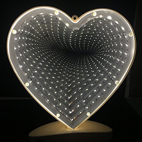 Tunnel Lamp Double-side Infinity Light Tunnel LED Light 3D Infinity Mirror Light Heart Sign Night Light Sensory Party Decor for Christmas, Birthday Party, Kids Room, Living (Apex Table Lamp 1 Light)