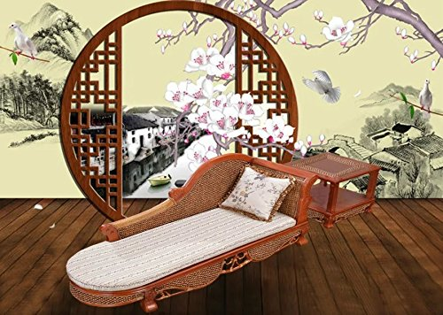 Natural bamboo - rattan wicker chaise lounge chair set/ longuer / recliner / reclining chair suite / seat / settee / seater / couch / chair / coffee table / tea table / teapoy / side table / end table by Sungao (Image #3)'