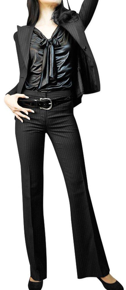 Italian Black Wool Pinstripes Women's Jacket & Pants Made in JAPAN