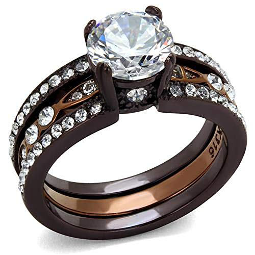 Chocolate Stainless Steel Ring - 2.75 Ct Round Cut Cz Chocolate Stainless Steel Wedding Ring Set Women's Size 5