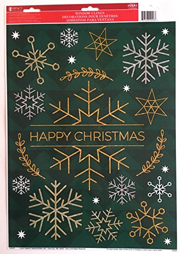 Happy Christmas Snow Flakes Window Clings 4 Pack