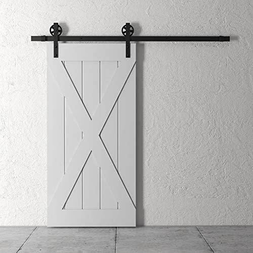 "Farmhouse Woodcraft 83"" Gray and Black Galaxy ""X"" Panel Sliding Wood Barn Door"