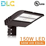 150W LED ShoeBox Pole Light (400W-500W MH Equal), 5000K CCT, 19,355 Lumen, 100-277VAC, Split Fit Mount, Surge Protector, Type III Distribution, IP65 Rated, DLC Qualified, UL Listed, Bronze Finish