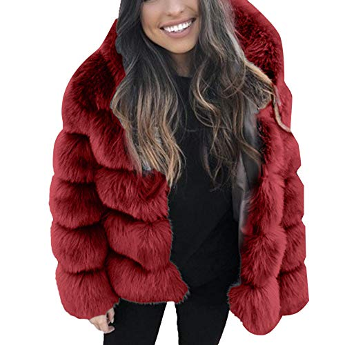 Aritone 2019 New Womens Warm Faux Fur Hooded Thicken Jacket Outerwear - Winter Faux Mink Dress Coat Overcoat (Wine Red, Small)