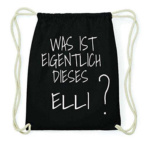 JOllify ELLI Hipster Turnbeutel Tasche Rucksack aus Baumwolle - Farbe: schwarz Design: Was ist eigentlich XpdtumD
