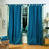 Lined-Turquoise Tab Top Sheer Sari Curtain / Drape – 80W x 120L – Piece Review