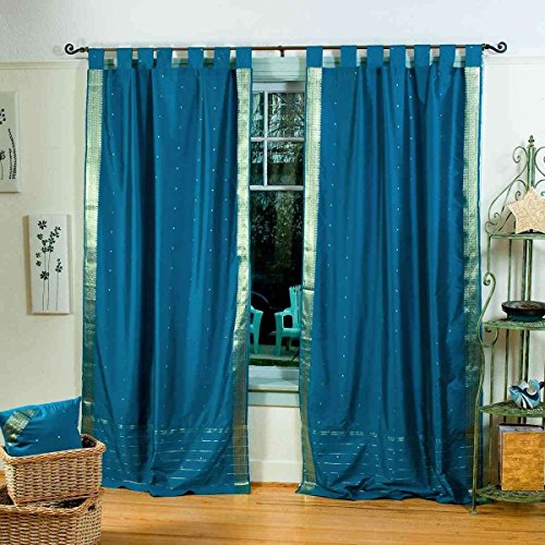 ned-Turquoise Tab Top Sheer Sari Curtain/Drape - 60W x 84L - Piece ()
