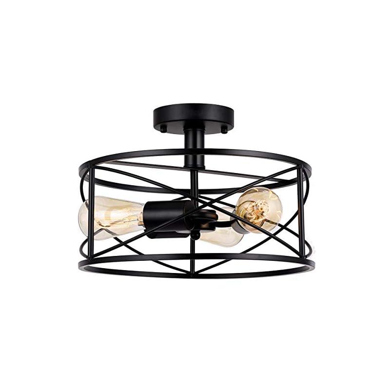 Capslpad Semi-Flush Mount Ceiling Light,Modern Farmhouse Flush Mount Light Fixture 3-Light Black Metal Industrial Light…