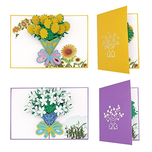 Tenn Well 2 PCS Flower Pop Up Cards, Creative 3D Greeting Cards with Envelop for Mother's Day, Birthday Day, Valentine's Day, Anniversary