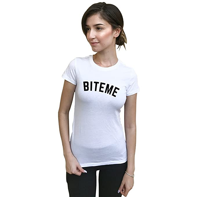 a5263a7cf65 MLA Custom Apparel Bite Me Women s White Crew Neck Tee at Amazon ...