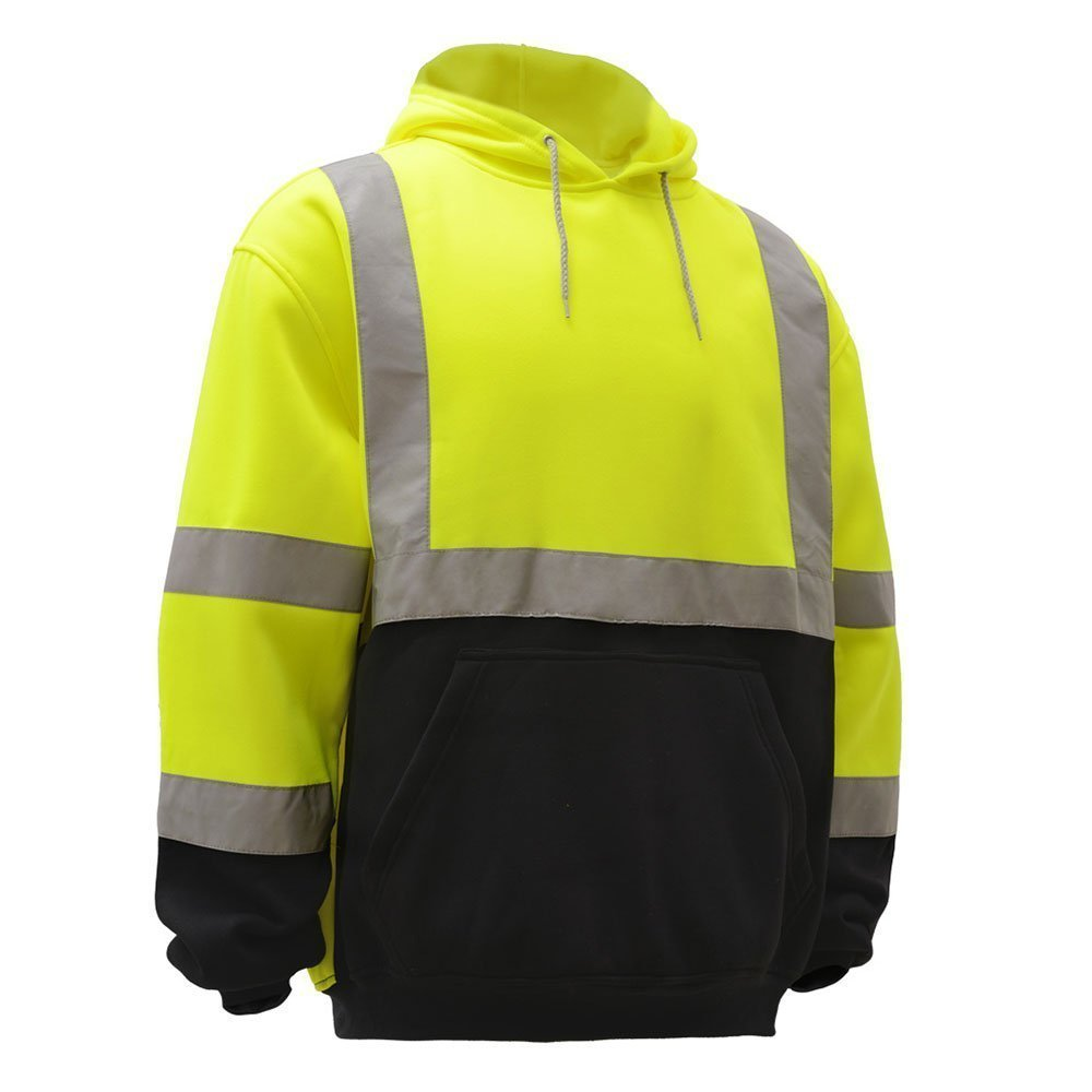 Large, Lime Knit Lining Hooded Pullover Black Bottom Troy Safety TSH8312 High Visibility Class 3 Sweatshirt Mens ANSI