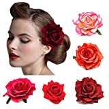 DRESHOW 5 Pack Flower Brooch Floral Hair Clips for Women Rose Hair Accessories Wedding