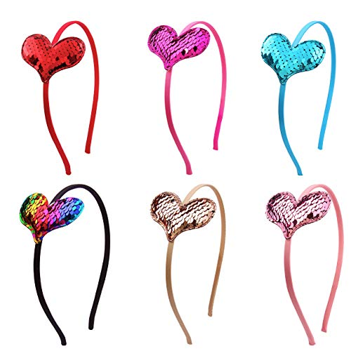 6Pcs Heart Sequin Glitters Girls Headbands Wedding Festival Parties Hairband Mermaid Headbands (6pcs Sequin heartt) -