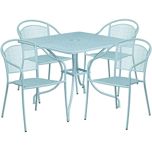 Flash Furniture 35.5'' Square Sky Blue Indoor-Outdoor Steel Patio Table Set with 4 Round Back -