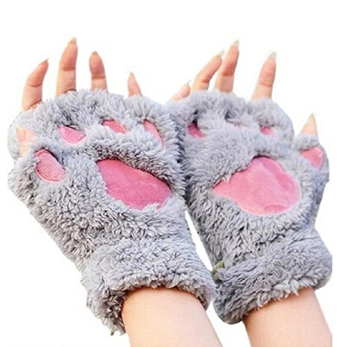 Himine Cat Claw Bear Paw Fingerless Winter Plush Gloves 1Pair (Grey) -
