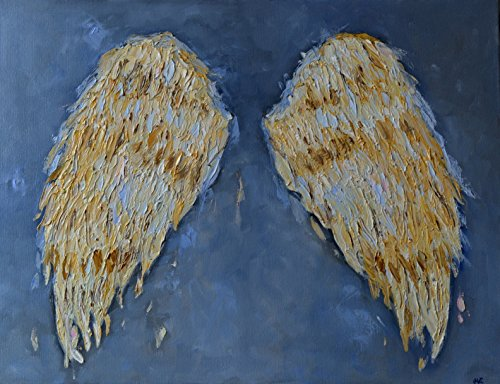 Angel Wings Painting Grey Gray Art CANVAS Artwork Wall Decor Decal Textured Gold Living Room Bedroom Christmas Gift Original Oil 19x25 by SmartPolonia