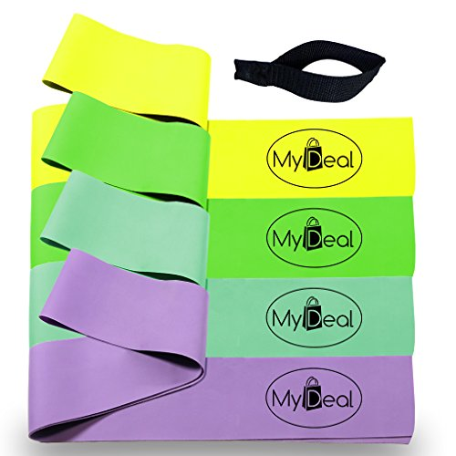 MyDeal SportGYM Fitness Stretch Band 6pc Portable Exercise Set with 4 x 100% Natural Latex Flat Elastic Fitness Bands ( 48 x 2.5 inches, Light, Medium, Heavy, Extra Heavy ), Door Anchor and Water-Resistant Carrying Case - For Improved Stretching , Flexibility, Training and Injury Rehabilitation in Baseball , Softball , Tennis , Golf , Boxing , Basketball , Football , more! Includes Cleaning Cloth