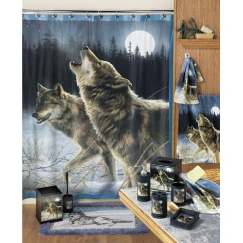 Awesome Amazon Com Howling Wolf Wolves Bathroom Decor Vinyl Shower Curtain .
