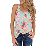 Women Tunic Tops Sleeveless Summer Casual Floral Print Tank Tops Shirts Blouses (S, Green)