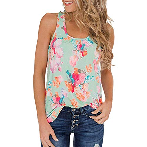 Women Tunic Tops Sleeveless Summer Casual Floral Print Tank Tops Shirts Blouses (S, Green) by Yihaojia Women Blouse (Image #1)