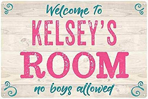 HarrodxBOX Kelsey's Room Kids Bedroom Sign Personalized Decorative Metal Signs for Women Wall Post Tin Sign Present